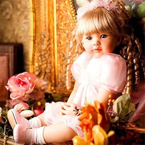 """LVYE1 23.6"""" Hermosa Princesa Rosa Niña Muñeca Reborn Tamaño Grande Silicona Muñecas Reborn para Niños Regalo Cabello Rubio Bebe Niña Reborn"""
