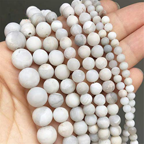 Cuentas de Piedra de Jades de Fénix Naturales, Cuentas espaciadoras Sueltas Redondas Blancas para Hacer Joyas, Pulseras DIY, Collares, 15 Pulgadas, 4/6/8/10 Mm 8mm (Approx 46pcs)