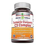 Amazing Formulas Turmeric Curcumin C3 Complex 500 Mg 120 Veggie Capsules - Enhanced with BioPerine, antioxidant & Anti-inflammatory Support and Supports Heart, Joint, Brain & Circulatory System