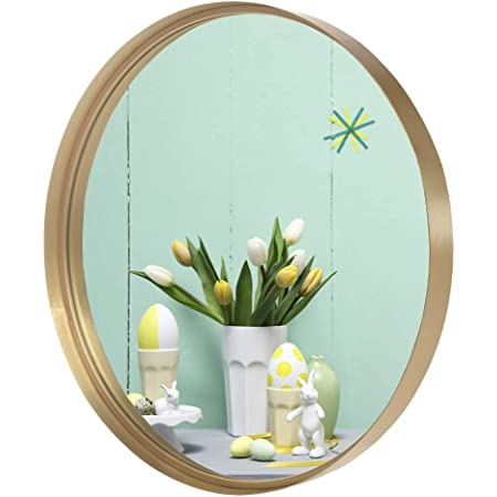 Amazon Com Vingli 24 Inch Gold Round Wall Mirror Metal Framed Round Wall Mounted Decorative Mirror Modern And Contemporary Decor For Entryways Bathrooms Living Rooms Vanity Home Kitchen