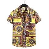 SSBZYES Camisa De Verano para Hombres Camisa De Manga Corta para Hombres Camisa De Playa para Hombres Camisa Hawaiana Informal con Estampado De Hojas Y Solapa Camisa De Flores De Manga Corta