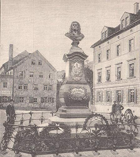 Böttger, Joh. Friedrich - geb. vermutlich am 4. Februar 1682 in Schleiz. Das am 17. Oktober enthüllte Böttger-Denkmal in Meißen. Ansicht mit figürlicher Staffage. [Grafik]