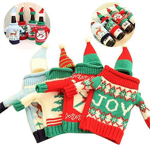 Fellibay Weinflaschenüberzüge Flaschenpullover Strick-Flaschenkleid mit Hut Freude Schneemann Weihnachtsbaum Rentier für Weihnachten Neujahr Party Tischdekorationen 4 Stück