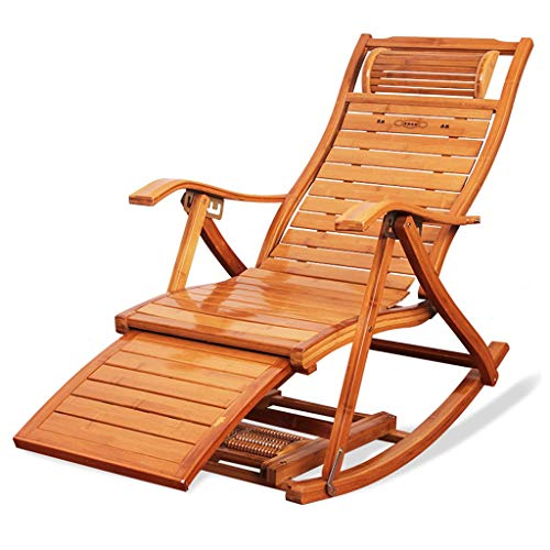 Xiaofeng Folding Recliner Adult Bamboo Rocking Chair Household Nap Chair Sandal Chair Elderly Leisure Easy Chair Solid Wood Backrest Bamboo Rocking Chair + Cushion