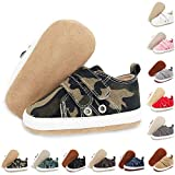 ENHERO Baby Boys Girls Shoes Infant Canvas Sneakers Soft Sole 100% Leather Anti-Slip Sole Hook and Loop Newborn Infant First Walkers Crib Shoes(12cm,6-12 Months Infant, A/Army Green)