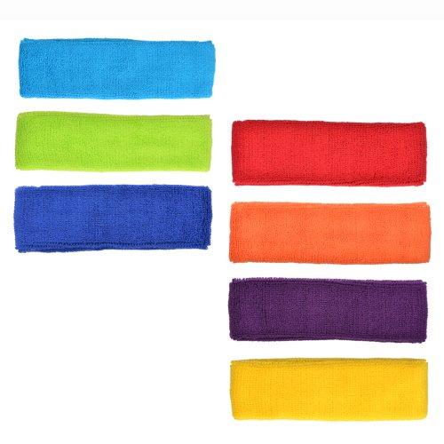 Cosmos Cotton Sports Basketball Headband/Sweatband Head Sweat Band/Brace (Pack of 7)