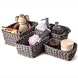 Aufbewahrungskörbe 4er-Set, aus Papierseil geflochten, für Kinderzimmer, Küche, Bad (Grau)