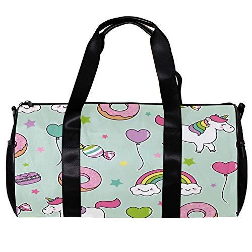 Bolsa de deporte redonda con correa de hombro desmontable, diseño de unicornio, arco iris, donut globo, caramelo, verde claro, bolso de entrenamiento para mujeres y hombres