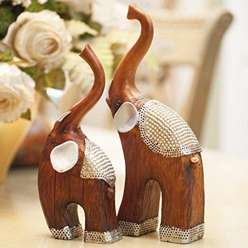 Crafts LQ Resina Pareja Objetos Artesanías Sala de Estar Decoración Accesorios para el hogar Elefante Adornos Artesanía