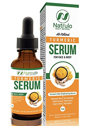 Natrulo Turmeric Serum for Face & Body - All Natural Turmeric Skin Brightening Serum - Cleanses Skin, Fights Acne, Evens Tone, Fades Scars, Sun Damage, & Age Spots - Pure Handcrafted Skincare Made in the USA