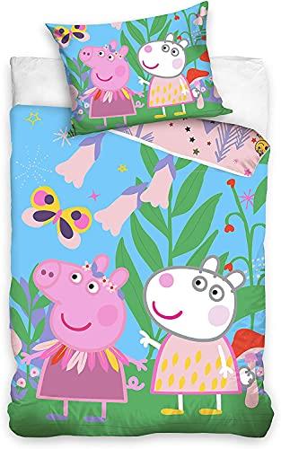 Peppa Pig Juego de cama infantil con funda de almohada (140 x 200 cm y 70 x 90 cm, algodón)