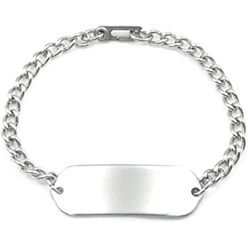 MakeMeThis Plain ID Bracelet IDB-01 - Stainless Steel - Non Allergenic - Adult, Youth & Child Sizes