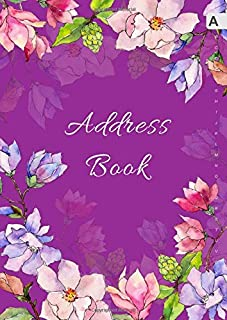 Address Book: A4 Big Contact Notebook Organizer | A-Z Alphabetical Sections | Large Print | Magnolia Wildflower Watercolor Design Purple