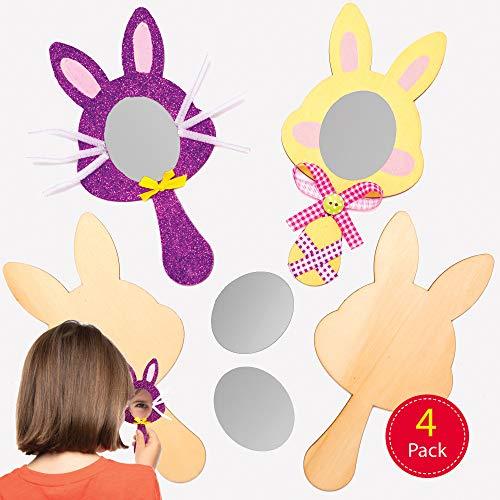 Baker Ross Pasen Bunny Houten Spiegels, Voor Kinderen te Versieren en Fancy Jurk (Pak van 4)