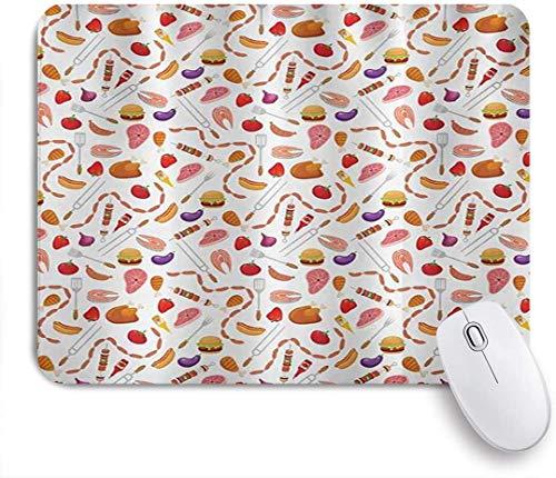 Benutzerdefiniertes Büro Mauspad,BBQ Party Grillen Themen Lebensmittel Elemente Hamburger Hotdog Steak und Wurst Muster Kochen Multicolor,Anti-Slip Rubber Base Gaming Mouse Pad Mat