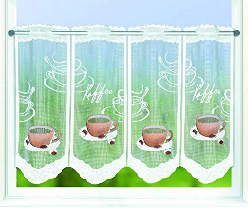Kamaca Bistrogardine Küchengardine Kaffee individuell in der Breite kürzbar Halbtransparent Breite 145 cm/Höhe 45 cm Scheibengardine (Kaffee)