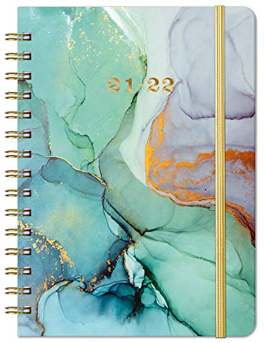 2021-2022 Planner - Weekly & Monthly Planner with Prelabeled Monthly Tabs, Jul 2021 - Jun 2022, 6.3' x 8.4', Twin-Wire Binding with Flexible Hardcover Cover, Elastic Closure & Inner Pocket - Green
