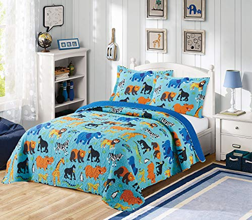 Golden Bedding Full Size Kids Bedspread Quilts Throw Blanket for Teens Boys Bed Printed Bedding Coverlet Multi Color Jungle Animals Elephant, Giraffe, Lion, Monkey, Zoo# Full 19-01