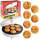 Mini Emojis Smiley Faces Waffle Maker - Create 7 Cool Unique Waffles or Pancakes with Electric Non Stick Waffler Iron - Featuring a Kiss Face, Heart Eyes, Smile & More, Fun Breakfast Gift for Kids (Renewed)