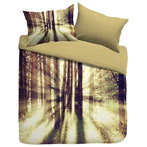 Sognamo Foxford Baumwollbettwäsche 135x200  80x80cm Farbe Multi  Wendebettwäsche Reißverschluss Reine Baumwolle Wald Forest I Organic I Fair Trade I Bio
