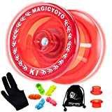 MAGICYOYO K1-Plus Professional Responsive Yoyo for Kids, Plastic Yoyo with Narrow C Bearing, Great Toddler Yoyo for Beginners, Extra Yoyo Sack + 5 Yoyo Strings + Glove + 2 Hubstack ( Crystal Red)