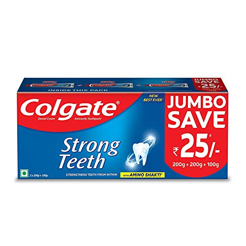 Colgate Strong Teeth Toothpaste with Amino Shakti - 500gm Saver Pack , India's No.1 Toothpaste