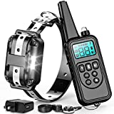 F-color Dog Training Collar, 865 Yards Reflective Strap Shock Collar for Dogs with Remote for Small Medium Large Dogs Breed with Light Beep Vibration Shock 4 Modes, Waterproof Dog Shock Collar, Black