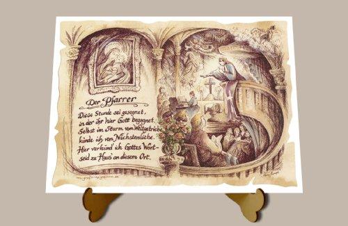 Die Staffelei Geschenk Pfarrer Priester Theologe Gedicht Zeichnung Color 20 x 15 cm mit Aufsteller