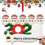 QUNPON Weihnachtsschmuck-Kit, 2020 Weihnachtsfamilienmitglieder DIY Quarantäne-Überlebende-Feiertags-Dekorationen Andenken-Baum-hängendes kreatives Geschenk für Familie