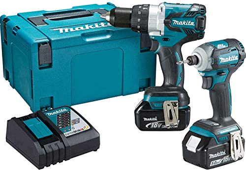 Makita DLX2214TJ 18V Li-ion LXT 2 Piece Brushless Combo Kit comprising DHP481Z and DTD170Z Complete with 2 x 5.0 Ah Li-ion Batteries and Charger Supplied in a Makpac Case