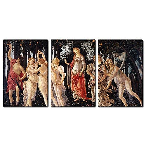 """wall26 3 Panel World Famous Painting Reproduction on Canvas Wall Art - Spring by Sandro Botticelli - Modern Home Decor Ready to Hang - 16""""x24"""" x 3 Panels"""
