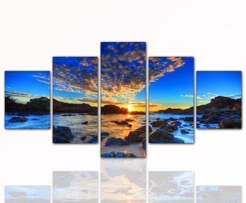 160x80cm 5 teiliges Wandbild xxl (Sunset_in_Blue_5teilig-80x160cm) NUR FÜR KURZE ZEIT !!! 5 teiliges abstraktes Wandbild xxl large günstig & modern (Sunset_in_Blue_5teilig-80x160cm) Bild auf echter Leinwand und Keilrahmen, der aktuelle Deko Trend 2013! Modern Art Pics in hoher Qualität als original Kunstdruck - Picture Style Motiv (Natur Landschaft Strand Beach Sonne Sunset Sunnenuntergang blau gelb) Foto als Bild. Ein Blickfang der neuen Generation für Jung & Alt. Ideal als Geschenk für Familie & Freunde. 100% Made in Germany - Qualität aus Deutschland. Weitere schöne Foto Bilder im Bild Online Shop
