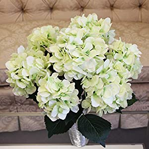 Larksilk Hydrangea Silk Flower Bush, Seven Heads Per Bush, UV Resistant, Indoor & Outdoor Silk Plant, Adjustable Stem, Rich Green Leaves, Wedding, Centerpiece, & Event Decor(Green)