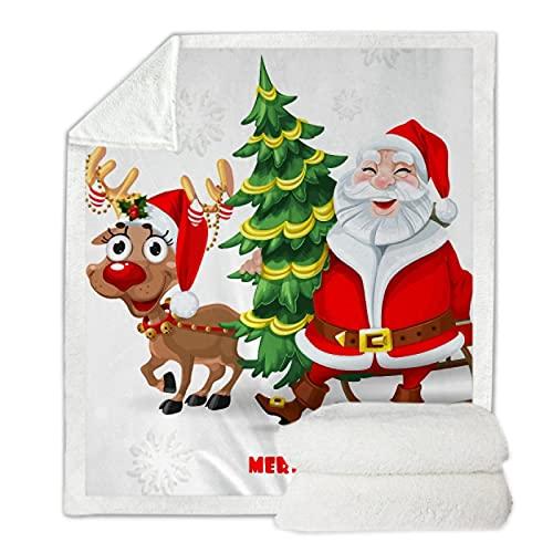 Manta Cuadrada con Estampado de año Nuevo navideño para Camas de Lana más Terciopelo sofá cálido Manta Suave para Acampar Mantas y Mantas de Lana 150 * 200Cm