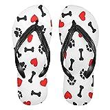 Mnsruu Animal perro pata impresión corazón rojo Flip Flops Flip sandalia casa zapatillas hotel spa dormitorio viajes S para hombres mujeres