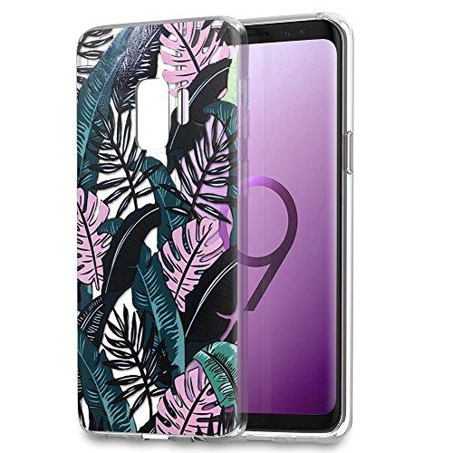 Eouine Funda Samsung Galaxy S9 Plus, Cárcasa Silicona 3D Transparente con Dibujos Diseño [Antigolpes] de Protector TPU Case Cover Fundas para Movil Samsung S9Plus - 6.2 Pulgadas (Hojas Negras)