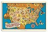 Pacifica Island Art - 22 x 30 cm Segno di Latta Decorative - La Corsa di Topolino e Paperino Verso l'isola del Tesoro - Mapa c.1939