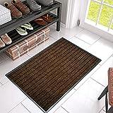 Felpudo de goma para exteriores, impermeable, resistente al agua, antideslizante, para atrapar la suciedad en el interior, lavable, 45 x 75 cm, color marrón