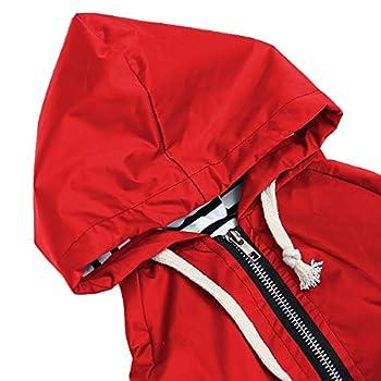 Manteau de pluie élégant de qualité supérieure pour chien - Fermeture éclair jaune avec boutons réfléchissants, poches, résistant à la pluie et à l'eau - Cordon de serrage réglable - Rouge - S