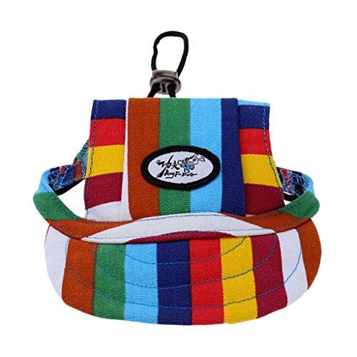 Generic Kleines Haustier Hund, Katze, Kätzchen Regenbogen Hundecap Baseball Mütze Gurt Hat Mütze Kappe Sunbonnet - #1, M