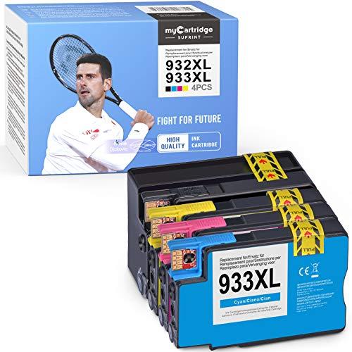 myCartridge SUPRINT Hewlett-Packard 932xl 933xl - Cartuchos de tinta para HP Officejet 6600, 6700, 6700, 6100, 7612, 7110, 7610 (negro, cian, magenta y amarillo)
