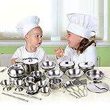 Senoow 25 stücke Edelstahl Küche Kochutensilien Mini Küche Werkzeuge Spielhaus