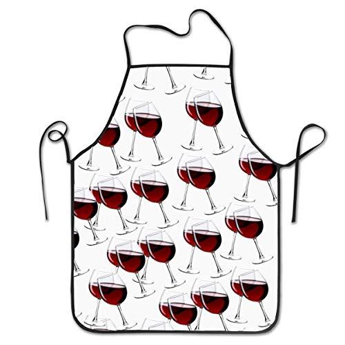 QUEMIN Delantales para mujeres y hombres, delantal de chef de cocina, delantal con babero ajustable para copas de vino para cocinar, servir, 20.4 x 28.3 pulgadas