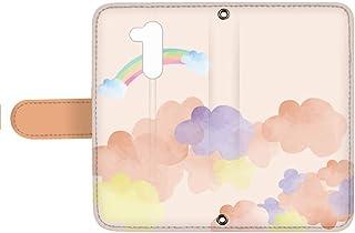 スマQ LG Q Style2 L-01L 国内生産 カード スマホケース 手帳型 LG エルジー エルジー キュー スタイル ツー 【B.オレンジ】 虹 雲 空 ami_q0006-z0070