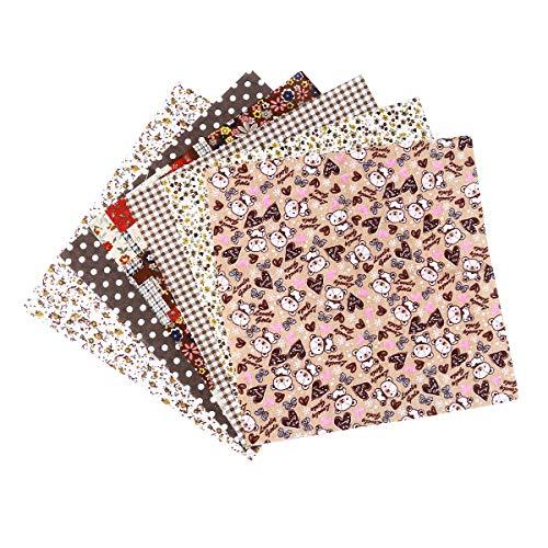 rosenice Baumwollstoff Patchwork Quadrate Blumenmuster Stoffpaket für Handwerk Nähen Scrapbooking 7 stücke (Kaffee)