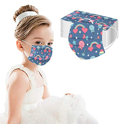 Cute Disposable Face_mask for Girls Kids Cartoon Rainbow Printed Paper Face_mask for Coronɑvịrus Protection with Nose Wire Breathable 3 Layers Thick Non-woven for School Daily Use (V)