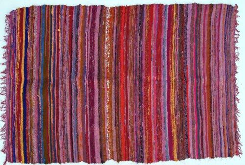 Guru-Shop Leichter Flickenteppich, Flickendecke 100x160 cm - Rot-bunt, Baumwolle, Teppiche, Bodenmatten
