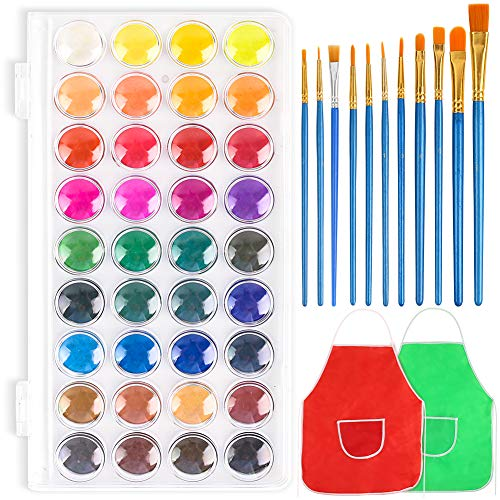 3 otters 36 Colors Watercolor Paint, Kids Painting Drawing Tools with 11 Brushes Kit Perfect for Kids, Easter Egg Painting Kit Adults and Beginner Artists