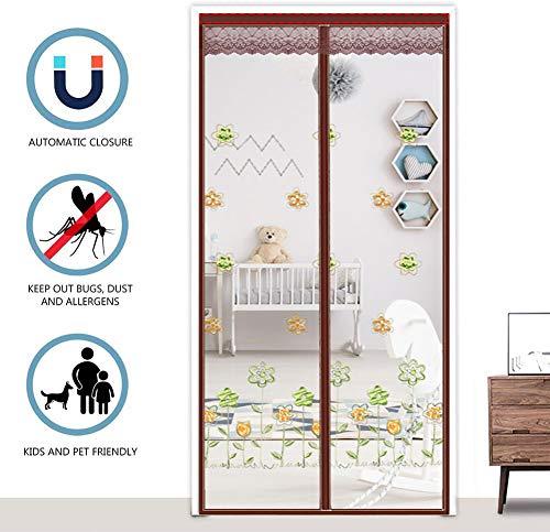 Verstevigd glasvezelgaas gordijn voordeur scherm met duurzaam gaas gordijn en volledige frame bevestigingsband 80x210cm(31x83inch) Geborduurd