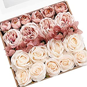 Ling's moment Artificial Flowers Combo Box Set Graceful Dusty Rose for DIY Wedding Bouquets Centerpieces Arrangements Bridal Shower Party Home Decorations